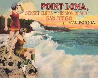 "Vintage Style San Diego Point Loma  California   1930's  beach scene   16""x20""  postcard   art print"