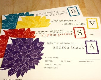 "50 Dahlia Flower Recipe Cards, Large 8.5""x11"", Custom Recipe Card Color, Personalized Recipe Card, Friend Birthday Gift Bridal Shower"