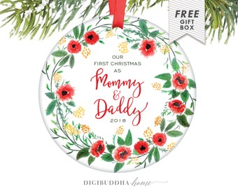 First Christmas as Mommy and Daddy Ornament New Baby Ornament New Parents Ornament 2018 Ornament Mommy Ornament Mom and Dad - Thames