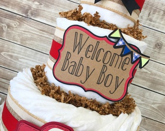 Truck Baby Shower Centerpiece, Red Truck Baby Shower Centerpiece