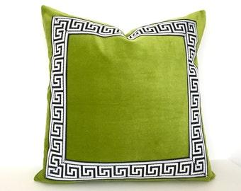 Green Pillow Cover with Greek Key Trim - Lime Green Velvet PIllow