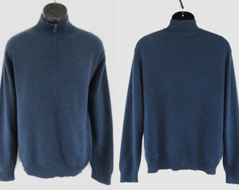 Jos A Bank Travelers Collection Navy Blue 100% Cashmere 1/2 Zip Sweater Size XL #C967