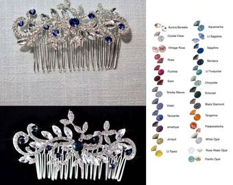 Choose Your Accent Colour -- Vintage Inspired Crystal Rhinestone Hair Comb, Bridal, Wedding (Sparkle-2423)