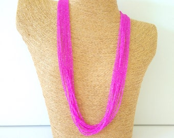 Hot pink necklace, neon pink necklace, fuchsia multistrand necklace, hot pink beaded, boho necklace, handmade hot pink,neon,magenta necklace