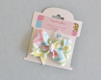 "Medium 2 1/2"" Pinwheel Bow -  Pastels and White Chevrons"