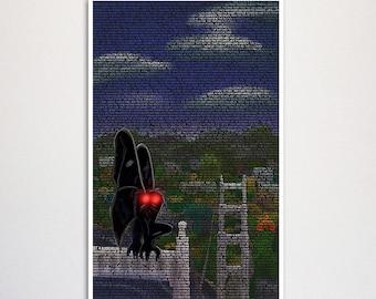 "Mothman Urban Legend Typography Art Print 11x17"""