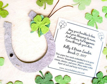 30 Irish Blessing Seed Wedding Favors - Green Seed Paper Clovers and Brown Plantable Paper Horseshoes - Lucky in Love Wedding Favors