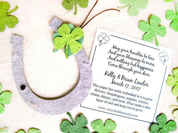 30 Irish Blessing Seed Wedding Favors Green Seed Paper