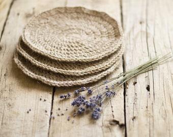 Eco friendly Crochet Hot Pad, a Set of 3, Jute Trivet, Rustic Kitchen, Country Chic, Burlap Home Decor, Natural Materials
