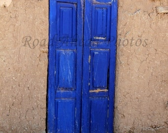 southwest blue door, 5 x 7 matted photo