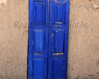 southwest blue door, 5 x 7 matted photo