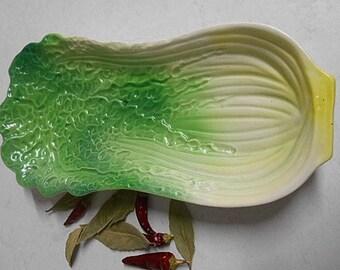 Retro Japan China Cabbage Design Serving / Display Bowl