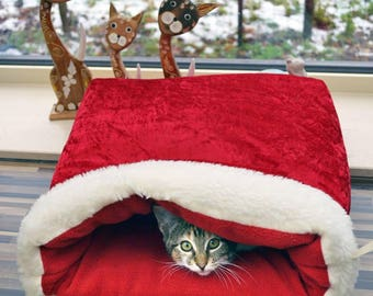 """Small dog or cat bed """"Christmas"""", cuddle cup cuddle bag"""