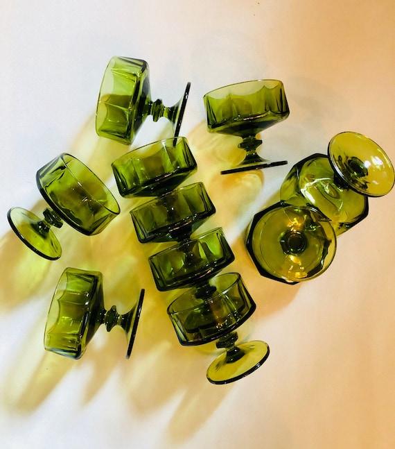 Set of Ten Vintage Olive Green Mid-Century Cocktail Glasses - Mid-Century Vintage Barware - Green Vintage Glasses