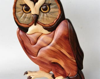 Saw Whet Owl Intarsia Scrollsaw Pattern PDF Digital Download Woodworking Plan Wood Intarsia Patterns
