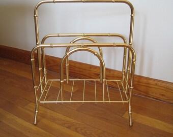 Bamboo Magazine Rack, Gold tone, Brass tone finish, Vintage