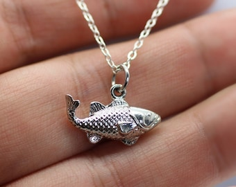 3D Fish Charm Necklace - Rhodium Fishing Trout Necklace Fly Fishing Jewelry Bass
