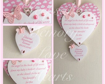 Baby memorial wooden keepsake heart in pink, blue or cream