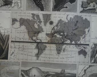 VOLCANOES world map of earthquakes and volcano 160+ years old antique print about Volcanic activity wind currents and mountain peaks
