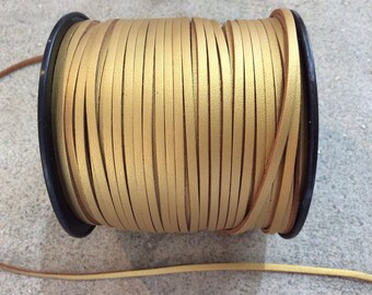 5 yds Metallic old gold faux leather cord  2.7mm jewelry making supplies wrap bracelet boho