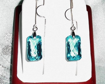 "Natural 23 cts Sea Blue Topaz gemstones, sterling silver 2"" threaders Pierced Earrings"