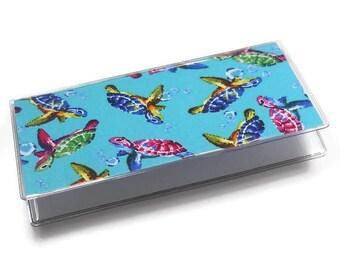 Checkbook Cover Swimming Turtles