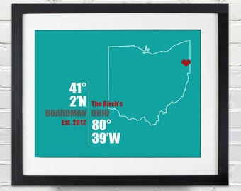 Ohio Coordinate Wedding or Anniversary Gift, Any State or Country Map Print, Bride and Groom Names, Place and Date, Bridal Shower Gift