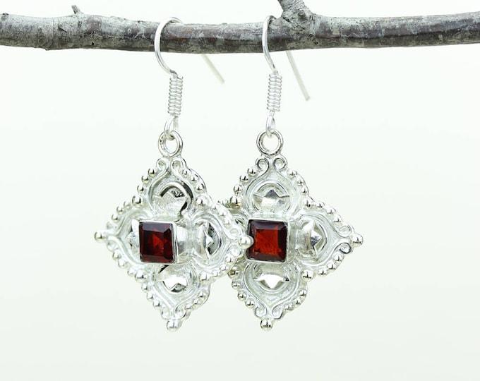 Garnet 925 SOLID (Nickel Free) Sterling Silver Italian Made Dangle Earrings e622