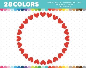 Heart wreath clip art, Hearts wreath clipart, Love wreath clipart, Wreath clipart, Wedding clipart, Wedding wreath clipart, CL-1292