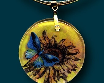 Sunflower and Blue Butterfly Necklace   - GeoForms Reversible Glass Tile Art