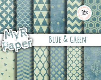 """Watercolor Digital Paper: """"Blue & Green"""" for scrapbooking, invite, card – damask, triangles, dots, chevron, hexagons"""