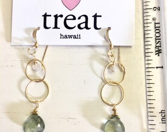 moss aquamarine gold filled earrings