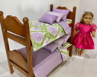 American doll bunk beds, oak stained with bedding