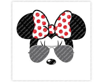 Disney, Minnie, Mickey, Mouse, Aviators, Sunglasses, Bow, Icon, Head, Ears, Digital, Download, TShirt, Cut File, SVG, Iron on, Transfer