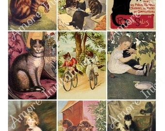 Printable Digital Clip Art Vintage Cats  Kittens Collage Sheet  ATC  JPEG  Instant Download  Downloadable  Cu  Commercial Use ok