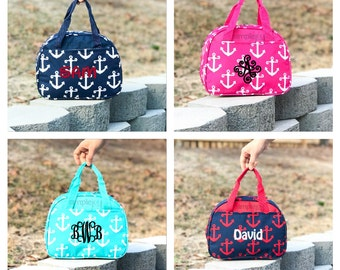 5 Colors- Anchor Lunchbox, Monogrammed Lunchbox, Personalized Lunch Bag, Teal Lunch Box, Navy Lunchbox, Pink bag, Red Lunch, Insulated Tote