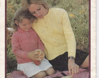ON SALE Paton's Knitting Pattern No 961 - A Family affair in Caressa - Knitting Designs for Family in Caressa (Vintage 1970s)