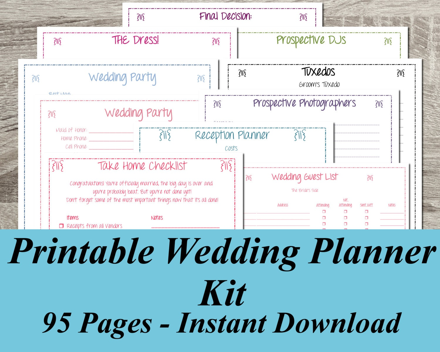 Instant download ultimate printable wedding planner kit 95 zoom solutioingenieria Image collections
