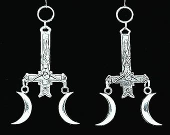 MINOTAUR, inverted cross earrings, satanic jewelry, ear weights, crescent moon earrings, inverted crucifix, mythological, occult, witchy