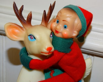 Atomic Rubber Reindeer with elf, gnome, pixie riding his back, Rudolph's Pals, Christmas Reindeer, Japan retro Mid Century Decor