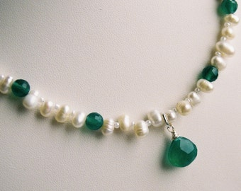 Necklace - Wire Wrapped Apatite Briolette, Freshwater Pearls, Apatite Rounds