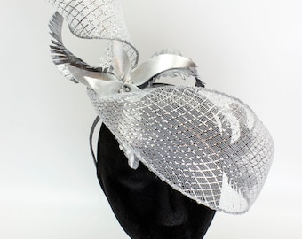 Silver Spiral Angled Veil - Feather Headpiece with Bobs - Millinery by Amy Fowler