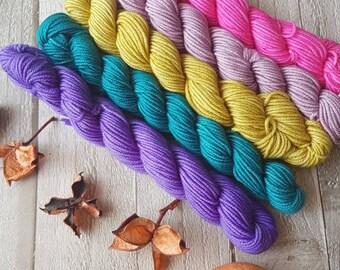 Mini Skein Set, 5 x 20g skeins, hand dyed yarn, mini skein, DK yarn, 4ply yarn, sparkle sock, Yorkshire Dale Yarns, Welldressing colourway