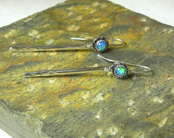 Natural Welo Opal Raindrop Earring, Spring Showers, Sterling Silver, Cabin Fever E135