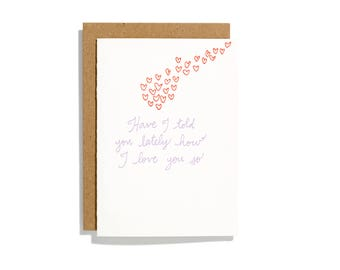 I Love You So - Letterpress Love Card - CL157