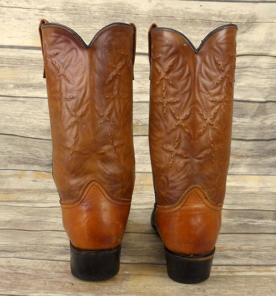 Shoes Vintage Boots Western Rockabilly Brown Mens 11 Tan Cowboy Acme D Country SPPw7a