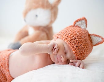 Newborn Fox Outfit / Hat and Diaper Cover / Crochet Fox / Newborn Photoprops