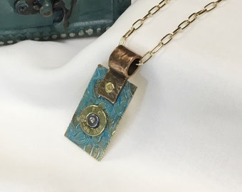 Bullet Turquoise Necklace Mixed Metal Colors with Swarovski Crystal
