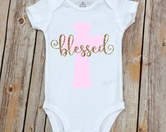 Blessed Cross Onesie Baby Girl  Baby Boy Shower Gift Baby Girl Gift Baby Girl Outfit Baptism Gift