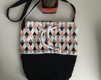 Backpack bag / / geometric patterns / / organic cotton